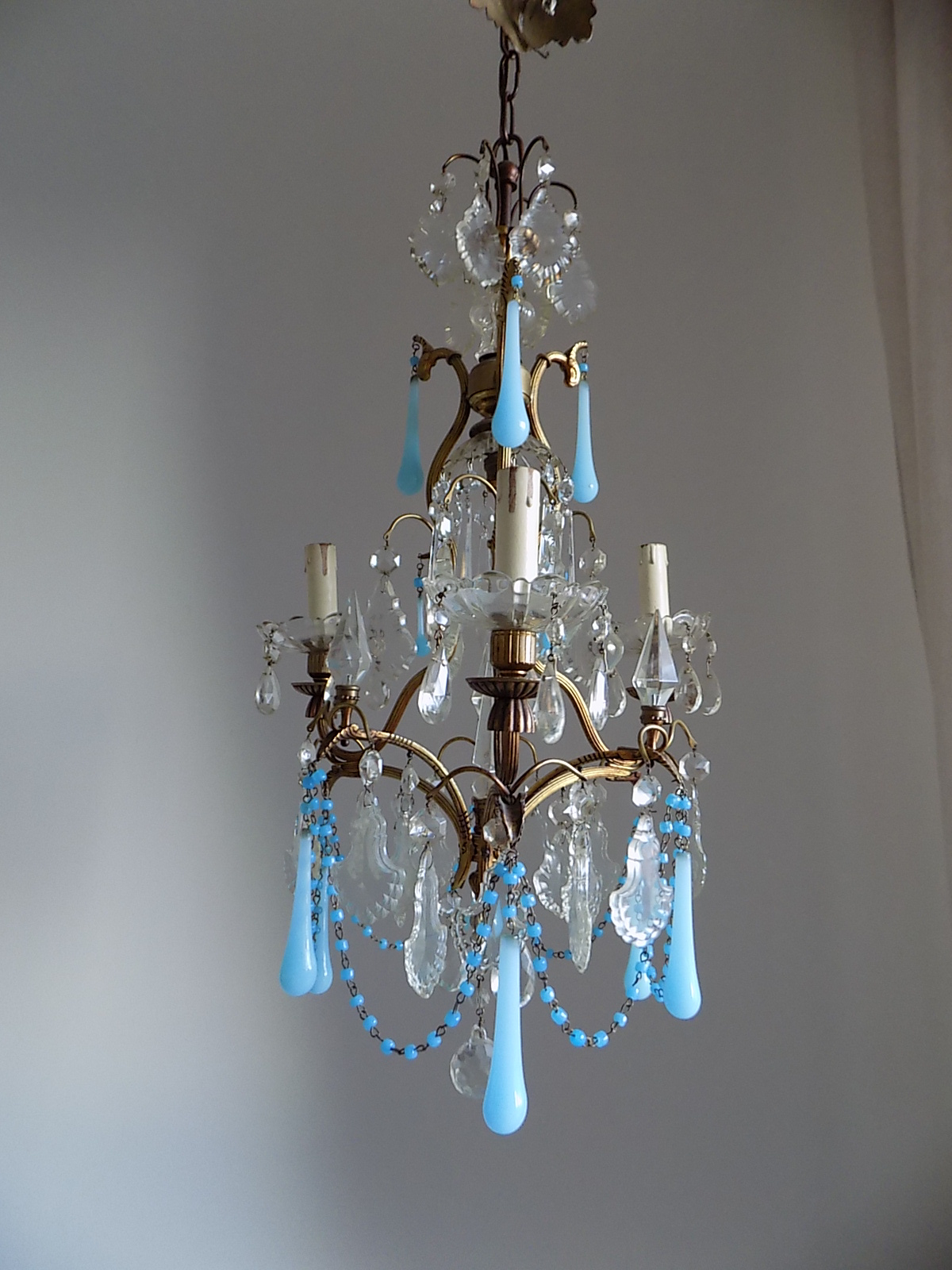 Rare antique Murano opaline drops chandelier