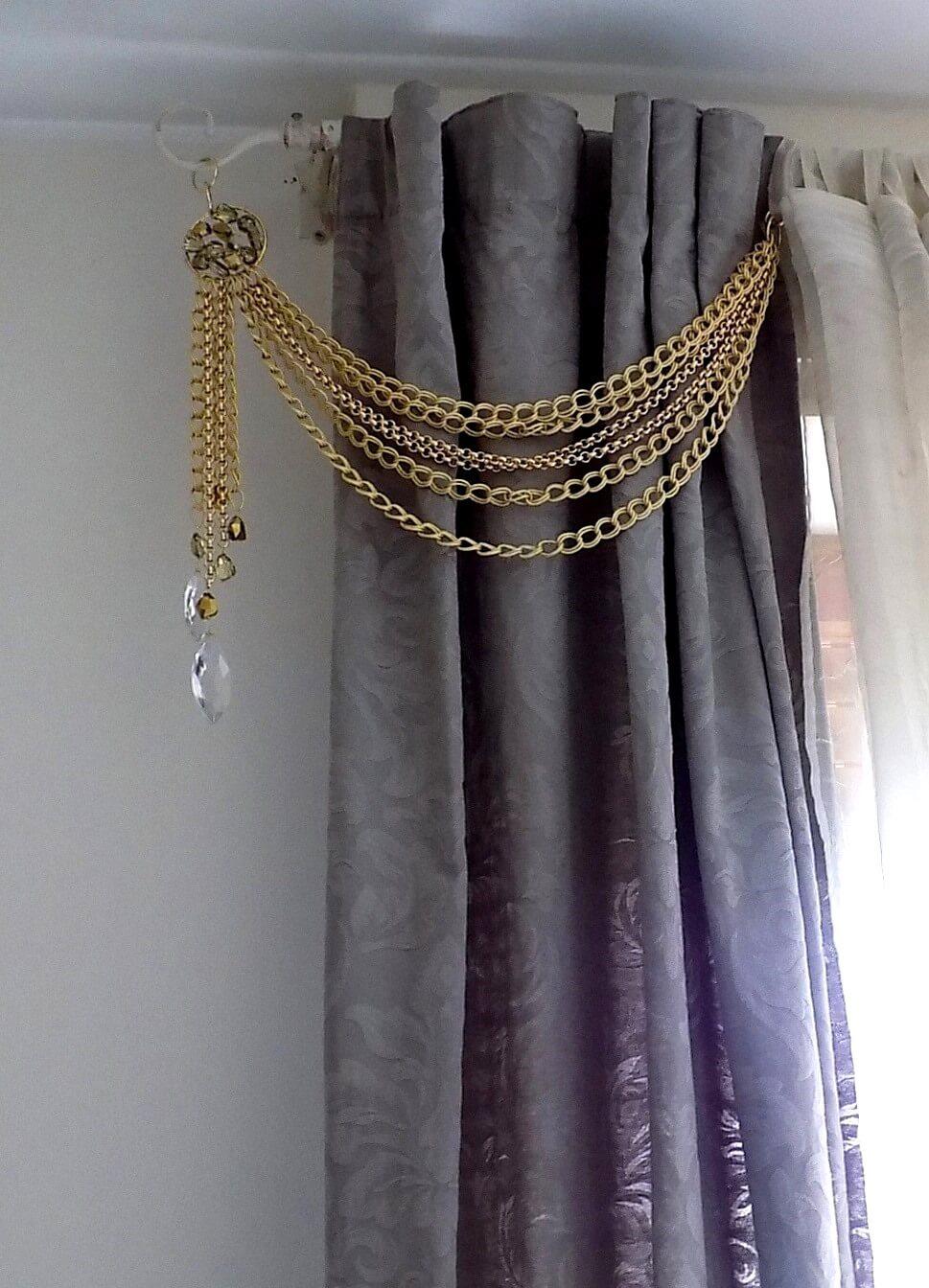 Luxury Sun Gold Chains Drapery Holder