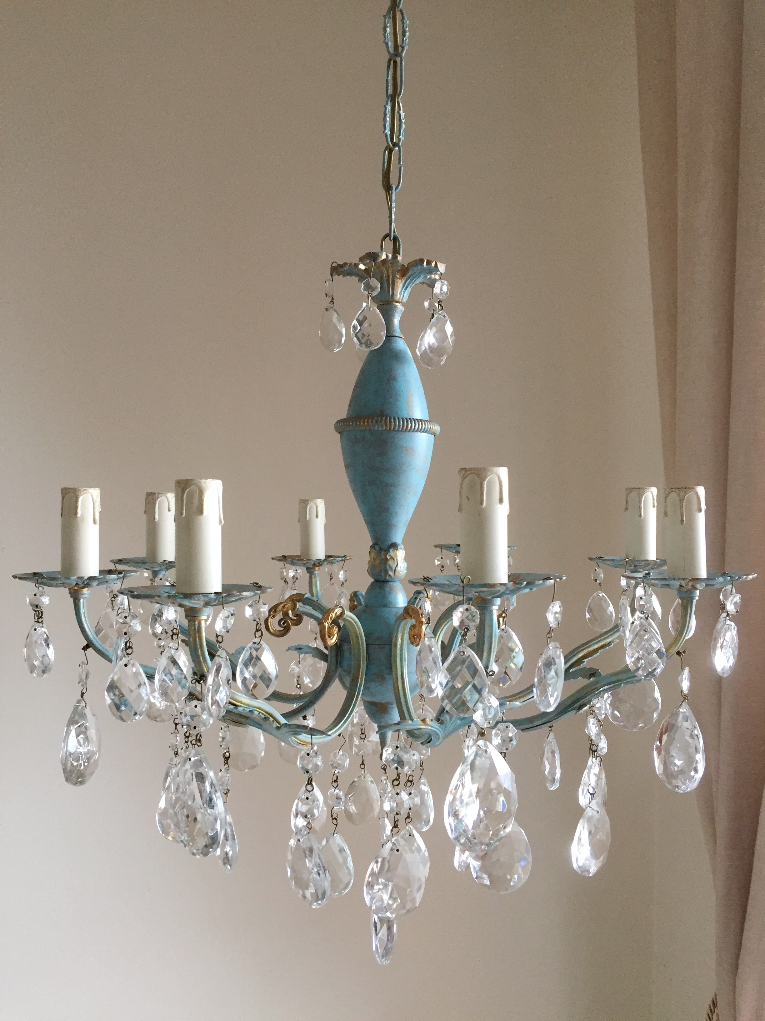 Robins egg blue and gold chandelier