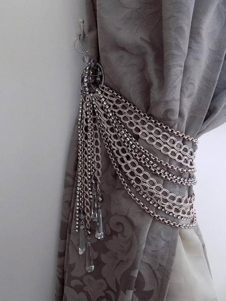 Luxury silver chains tieback with Swarovski and rhinestones