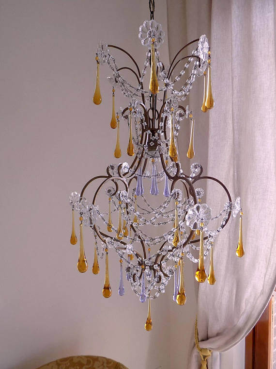 Antique style Murano glass drops chandelier