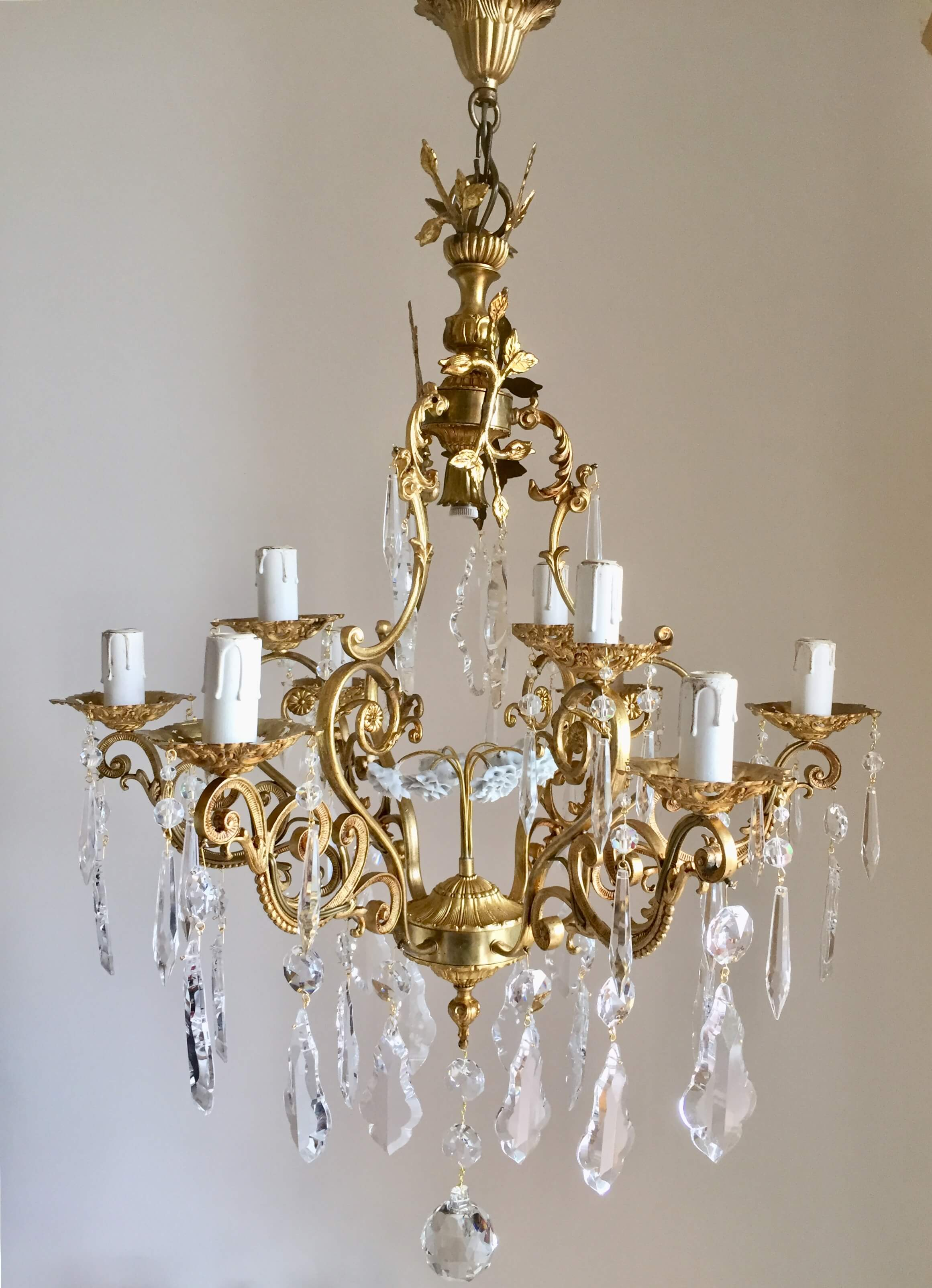 Le rêve fleuri de monaco golden brass vintage chandelier