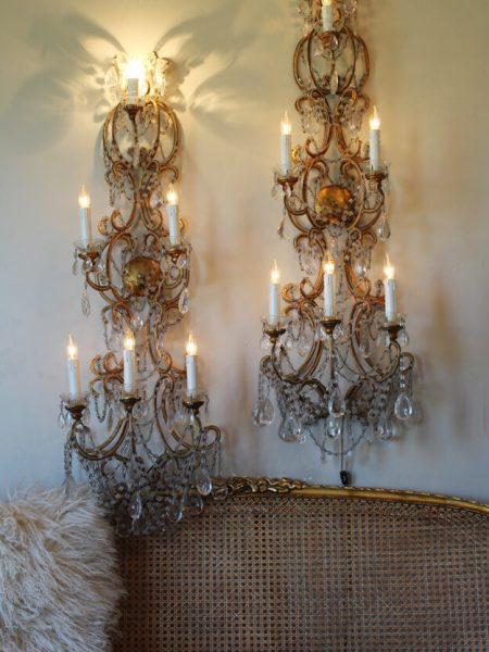 Italian gold leaf beaded four foot sconces