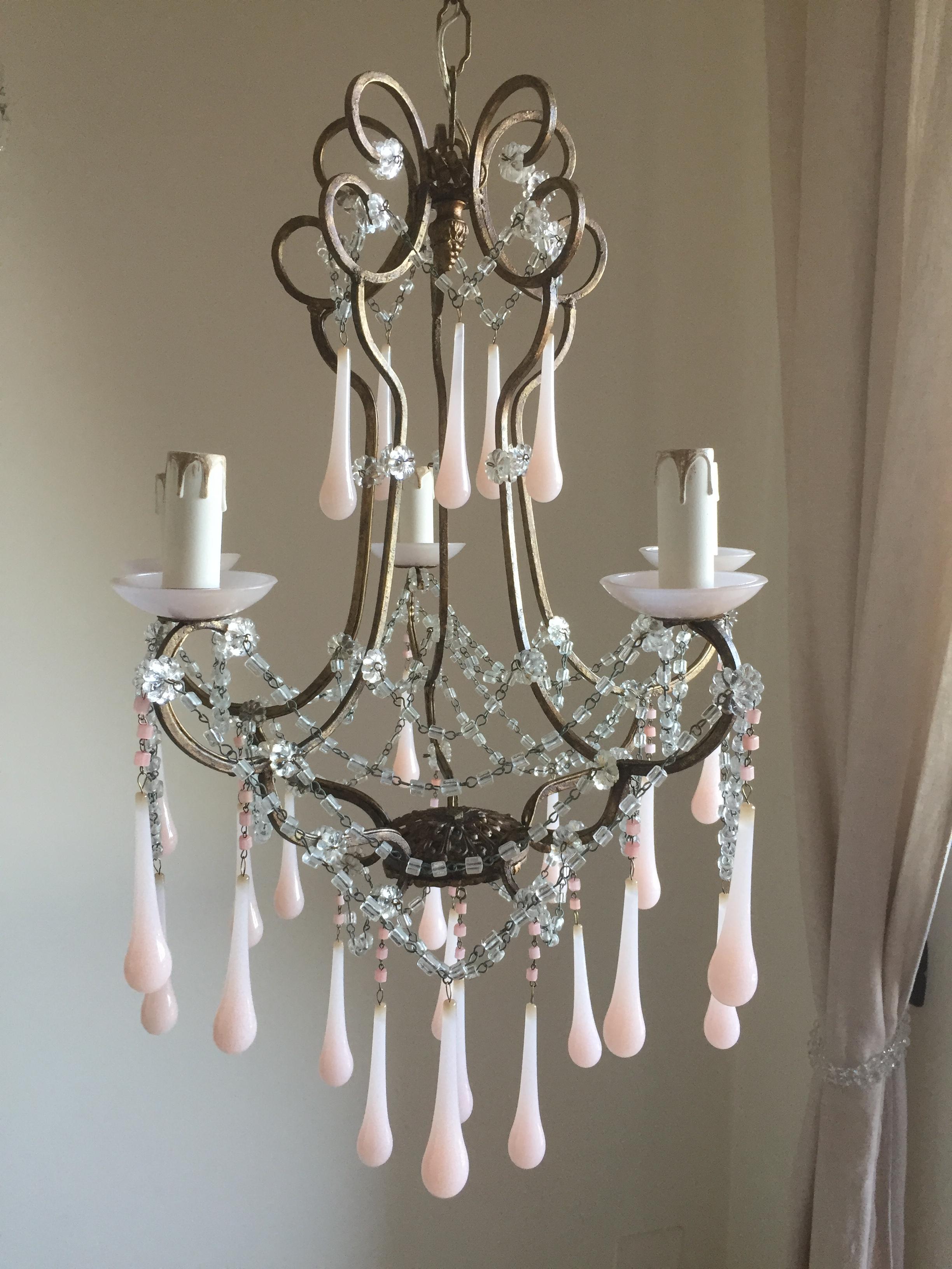 Antique Murano pink opaline drops chandelier