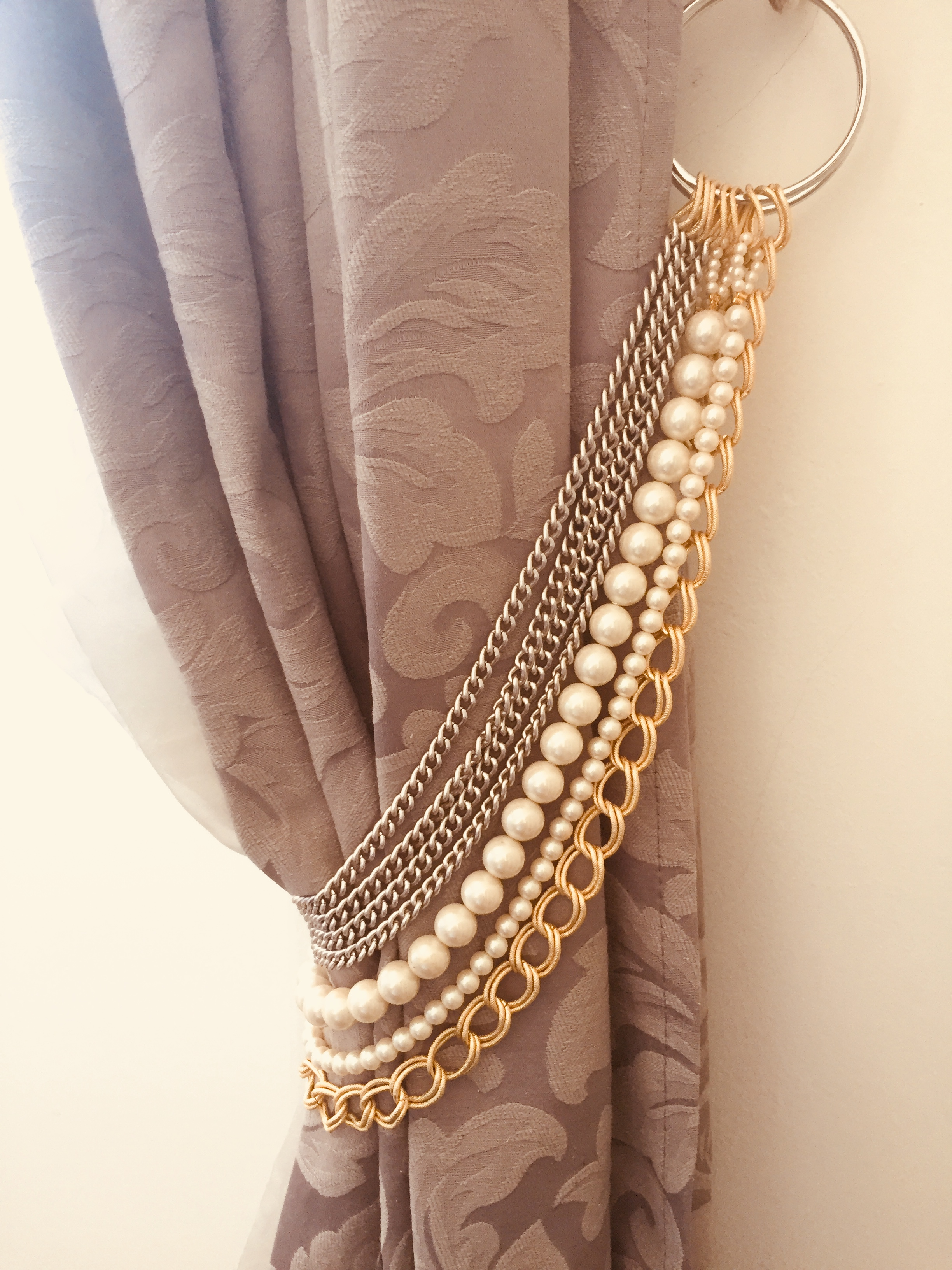 FRAN silver and gold chains tieback with faux pearls