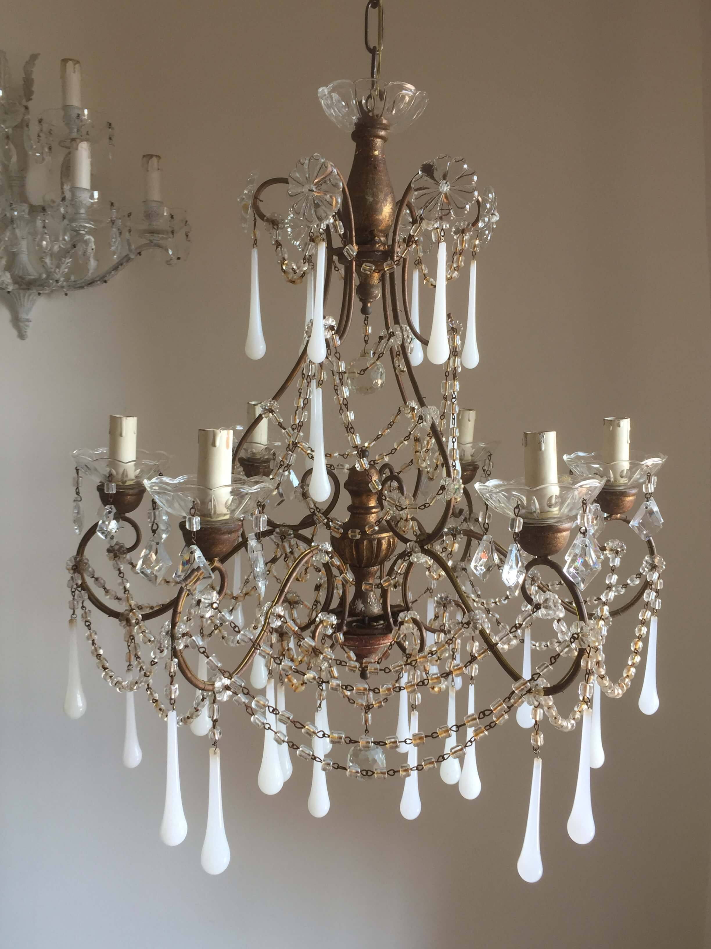 Antique Murano white opaline drops chandelier