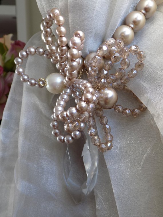 Champagne crystals and pearls tieback with flowers