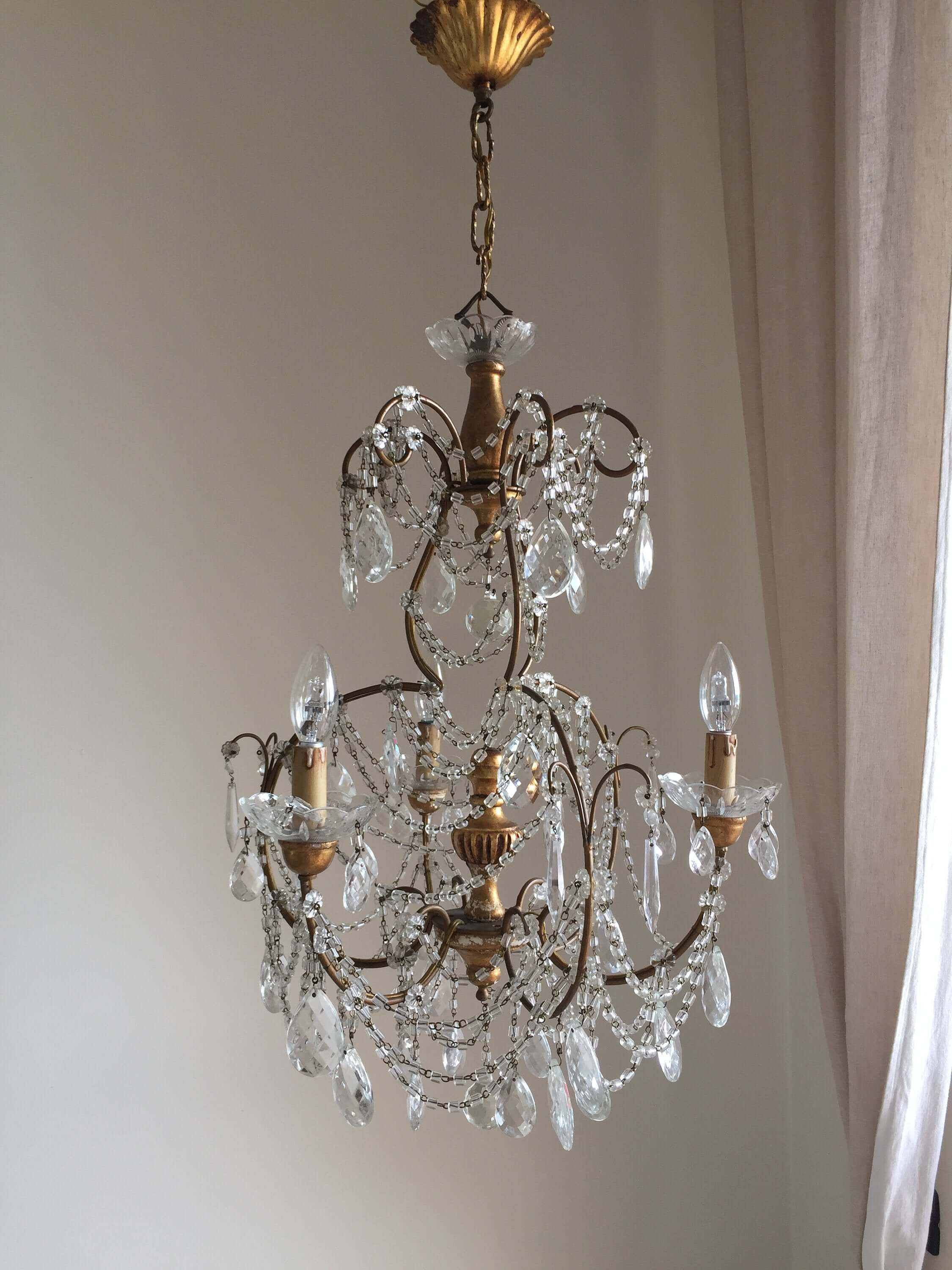 Rare antique Italian 3 lights chandelier