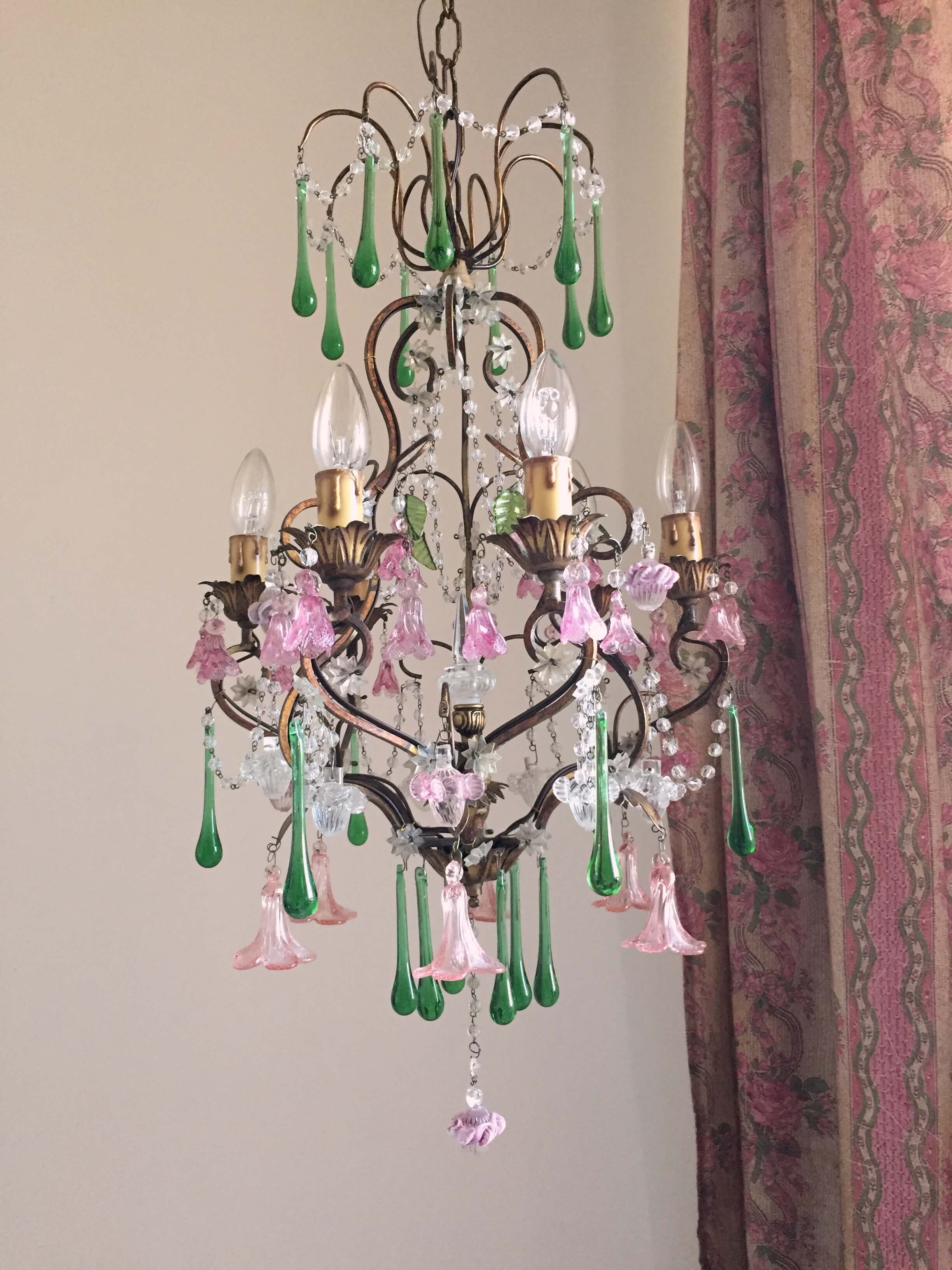 Rare Murano glass flowers chandelier