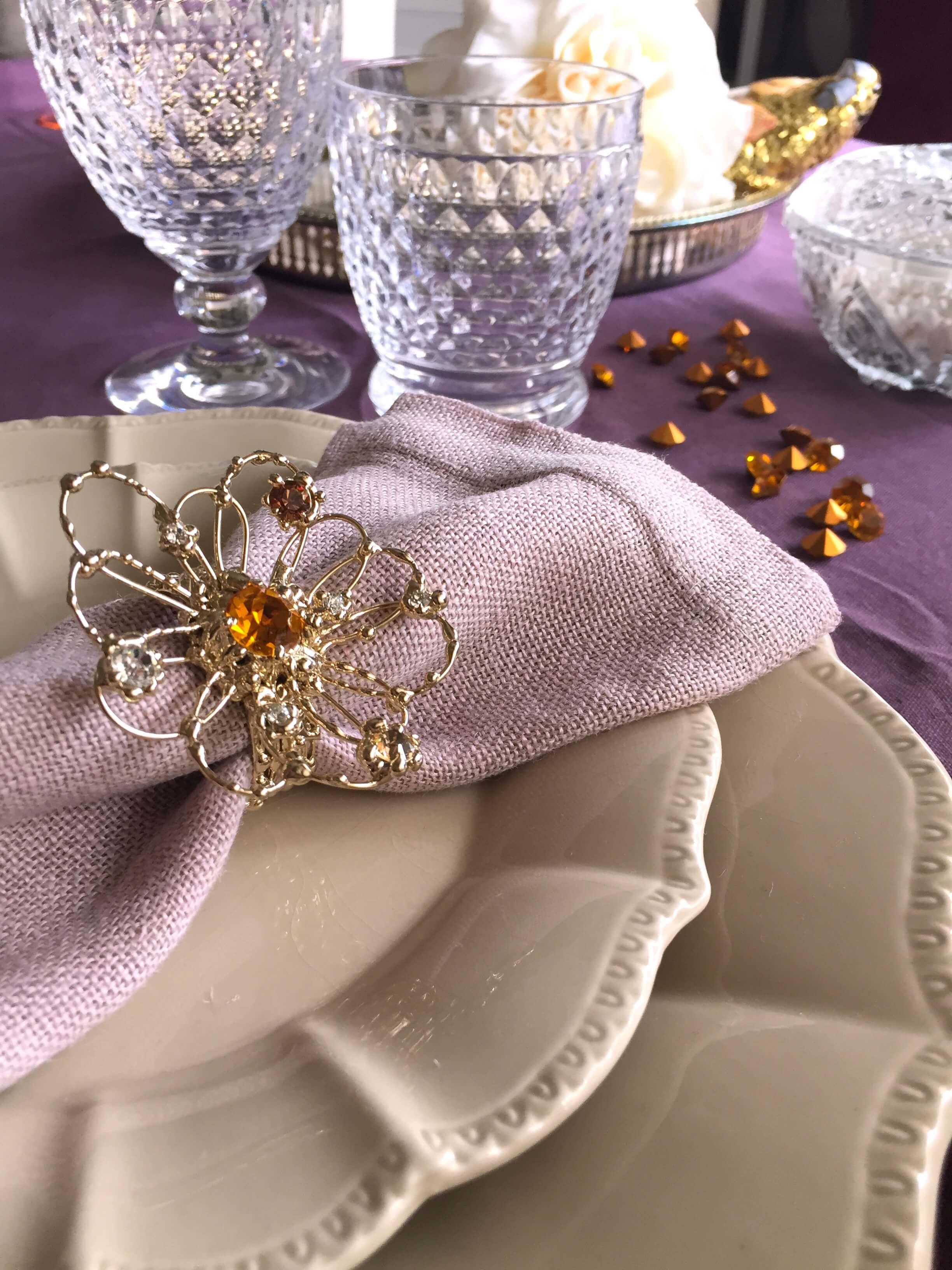 6 Luxury 24 kt gold finish Swarovski flowers napkin rings