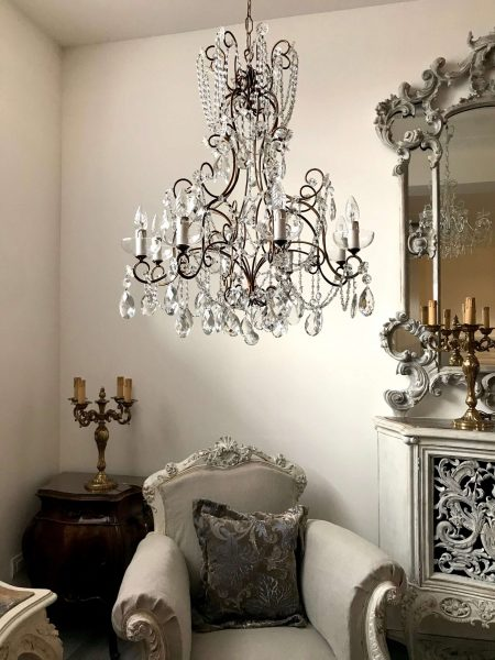 Statement vintage Italian wrought iron crystal chandelier macaroni beads