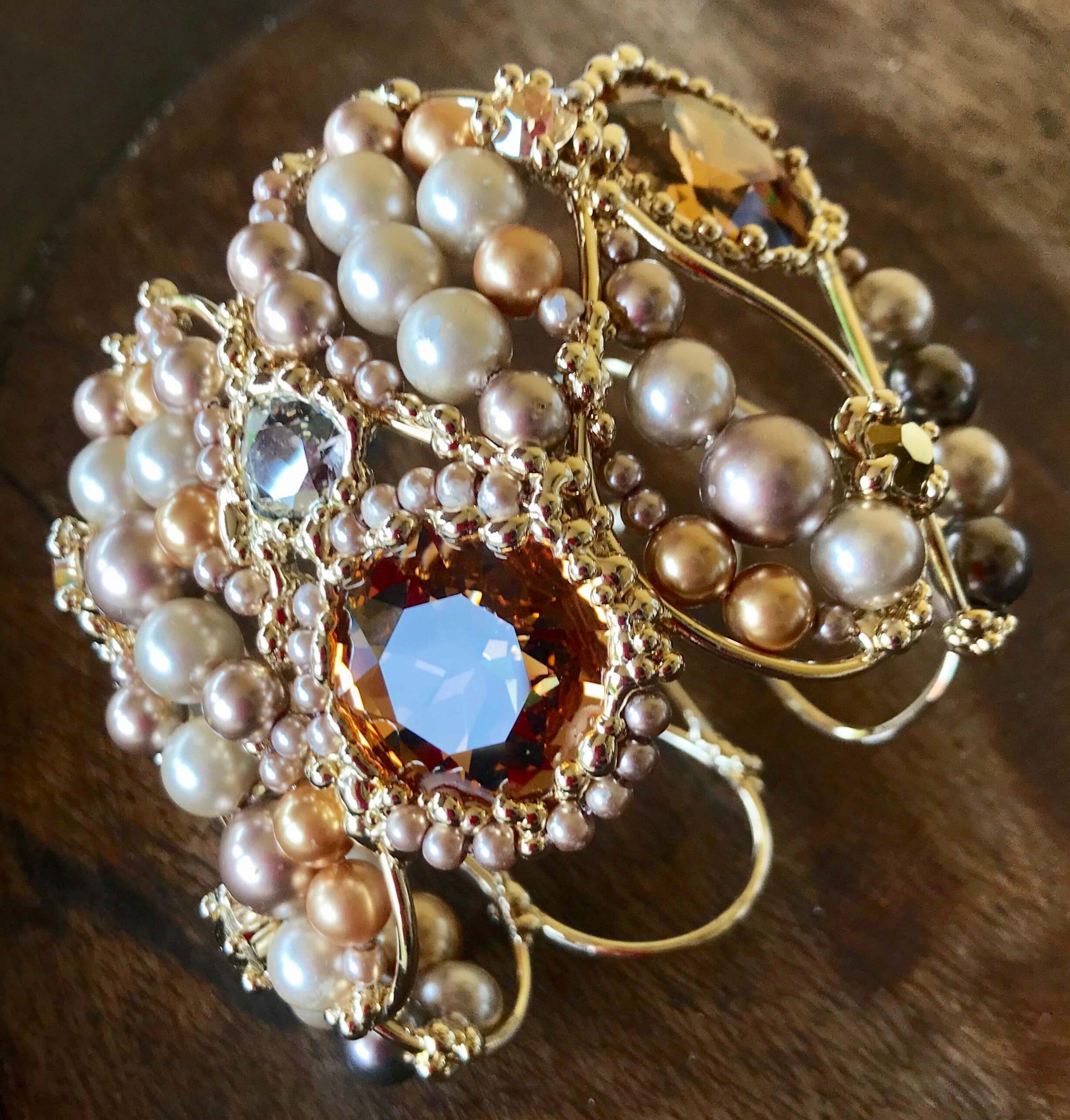 Swarovski and pearls tiebacks