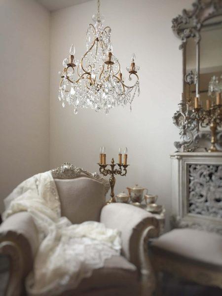 Italian vintage gilt birdcage chandelier rare shape crystals