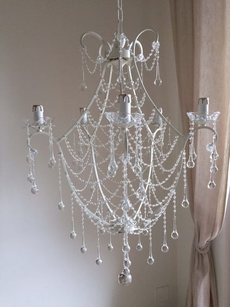 ivory basket chandelier
