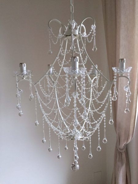 Sissie ivory chandelier Murano glass drops and beaded swags