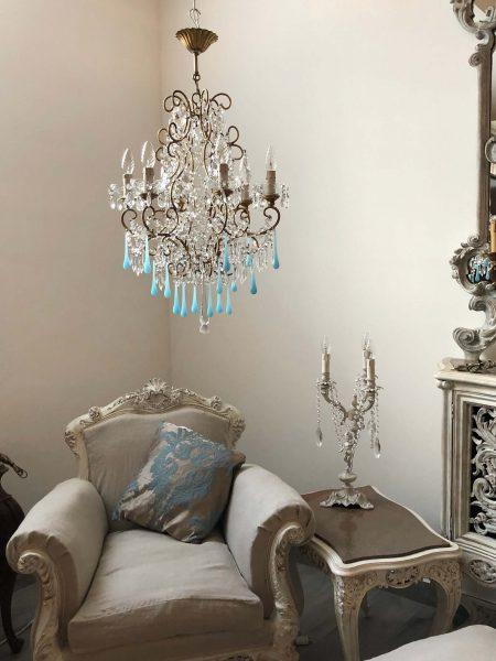 Blue opaline Murano glass drops Italian vintage chandelier