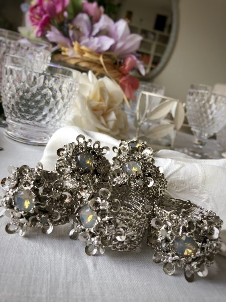 Luxury opal Swarovski napkin rings