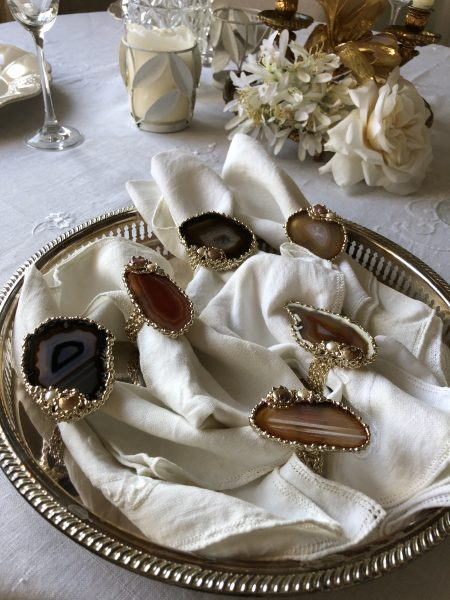 SET OF 6 napkin rings 24 kt goldfill agate Swarovski pearls
