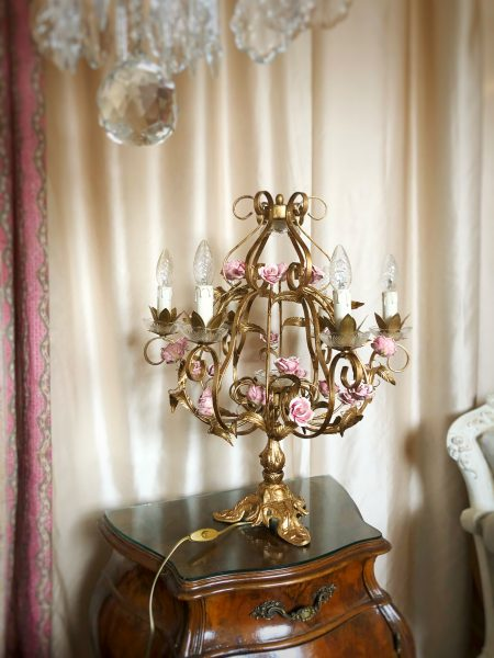 Vintage Italian table chandelier, gold brass and roses