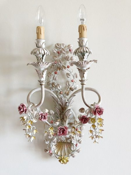 Italian wrought iron floral sconce 2 lights