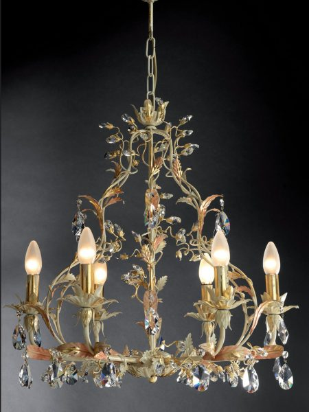 Gold leaf and ivory wrought iron Asfour crystals