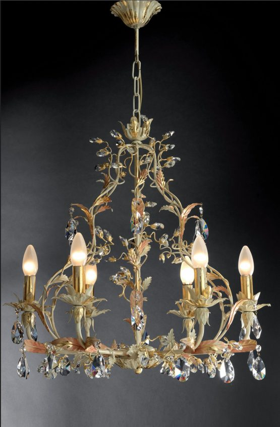 gold and ivory crystal chandelier