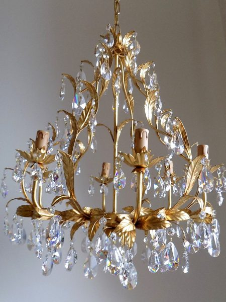 Gold leaf birdcage crystal chandelier, 6 arms