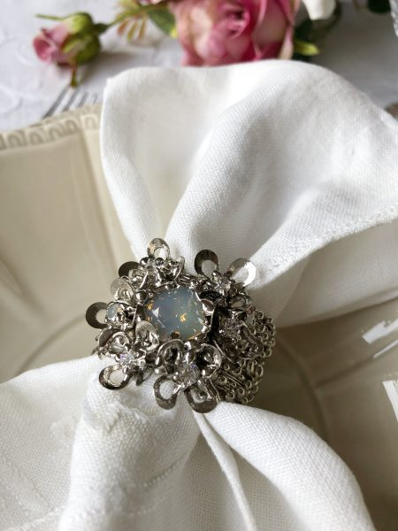 Set of 6 luxury opal Swarovski napkin rings