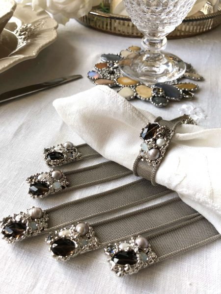 SET OF 6 Swarovski pearls and smokey quartz napkin rings