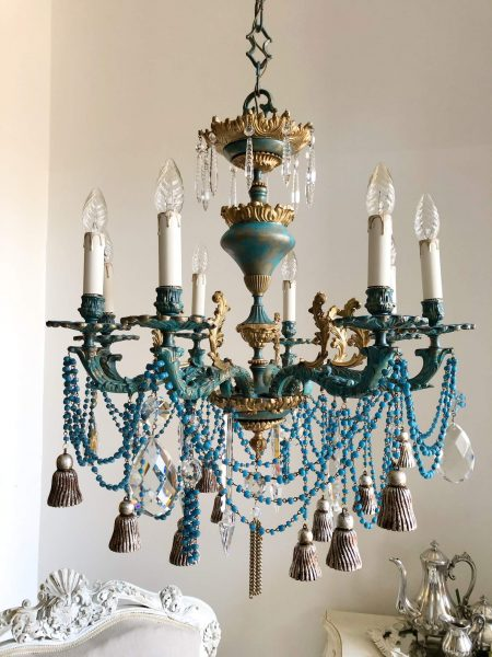 Artistic one-of-a-kind solid bronze turquoise and gold chandelier