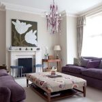 Purple and taupe living room chandelier