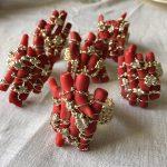 coral napkin rings