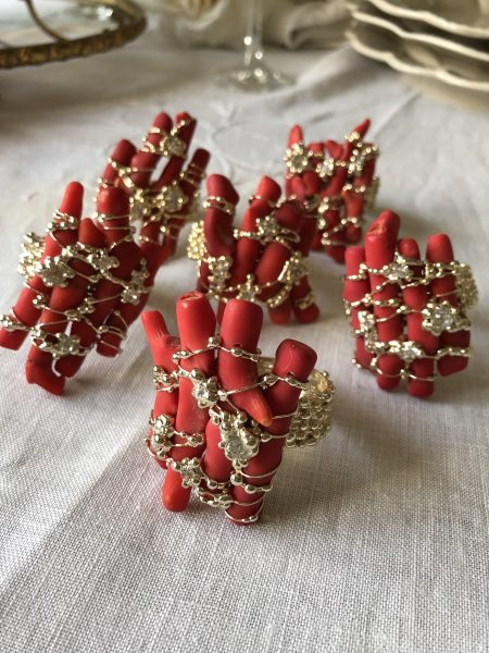 SET OF 6 coral rhinestones napkin rings 24 kt gold finish