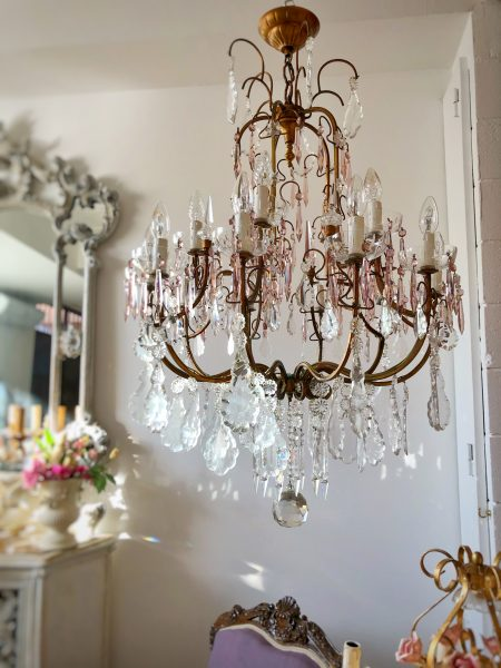 Stunning 15 lights purple crystals chandelier