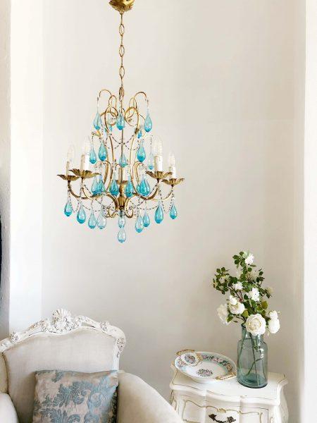 Venetian vintage chandelier Murano glass drops