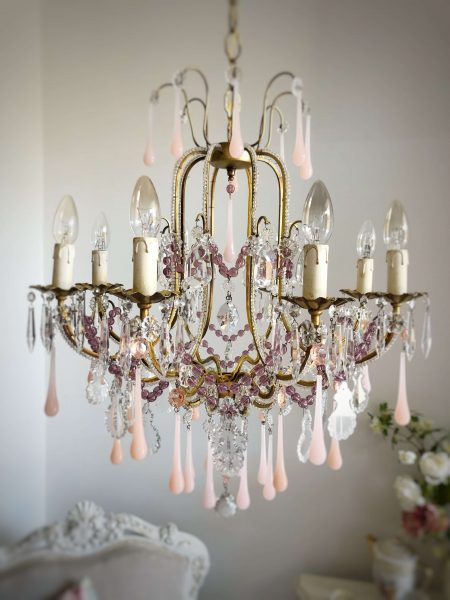Antique pink opaline glass drops chandelier