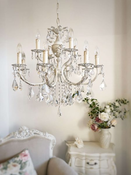 Ivory brass chandelier 12 lights
