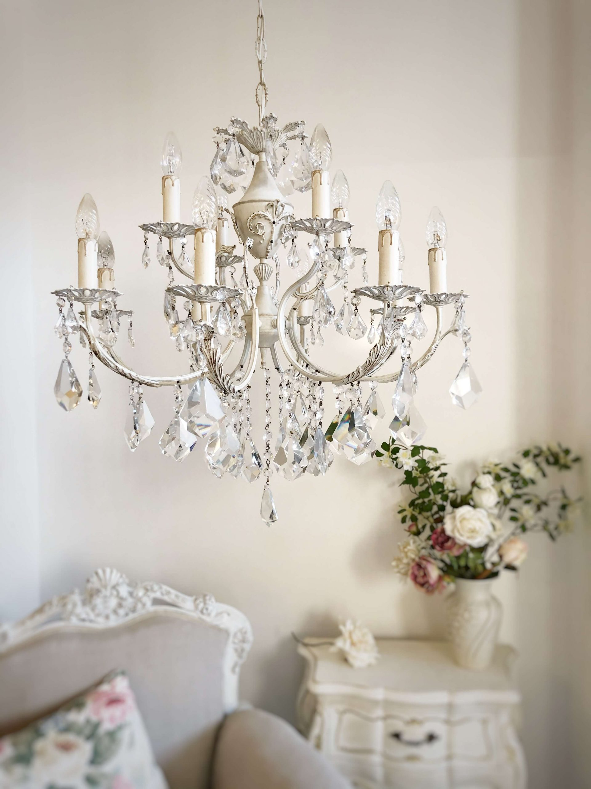 Ivory Brass Chandelier 12 Lights Lorella Dia