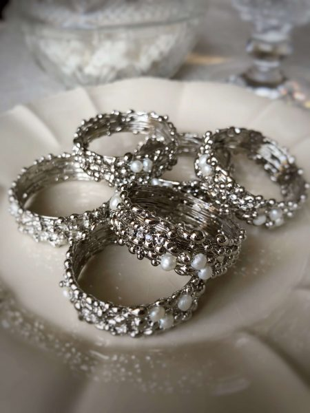 Swarovski rhinestones and pearls napkin rings