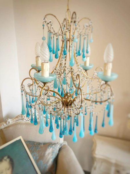Antique Venetian chandelier Murano opaline glass drops