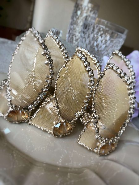 24 kt light gold finish leaves and Swarovski napkin rings