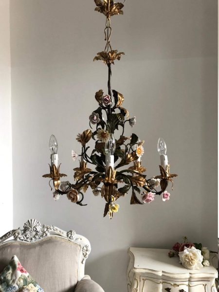 Rare Italian tole chandelier porcelain flowers