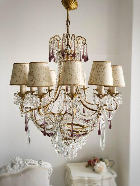 Stunning vintage 12 lights chandelier purple drops