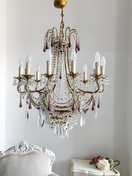 Stunning vintage 12 lights chandelier purple drops