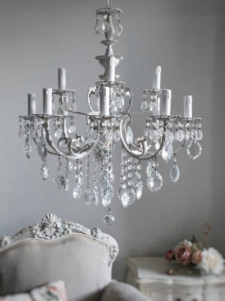 Italian vintage white crystal chandelier 12 lights