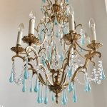 blue Murano glass drops chandelier