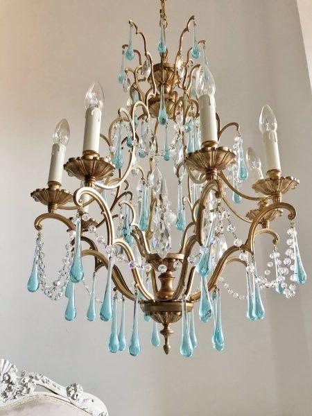 Antique gold birdcage brass chandelier Swarovski swags