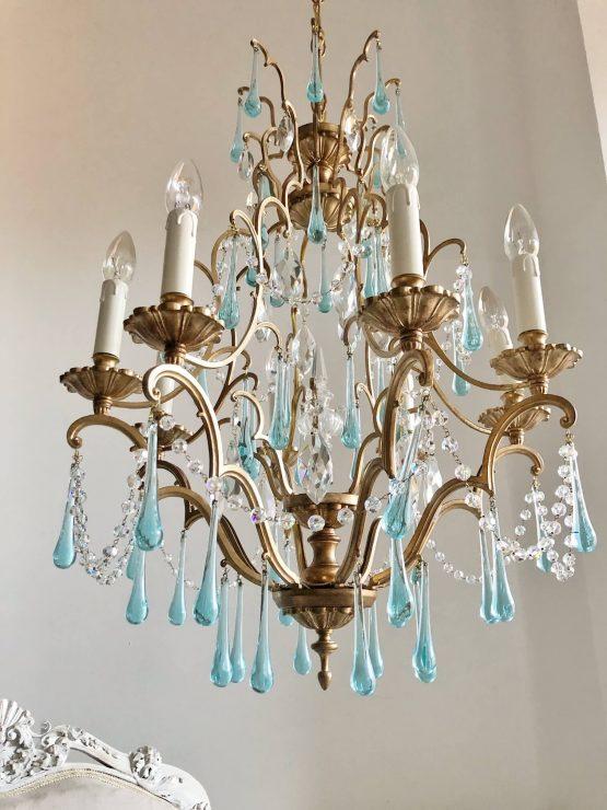 blue Murano glass drops chandelier