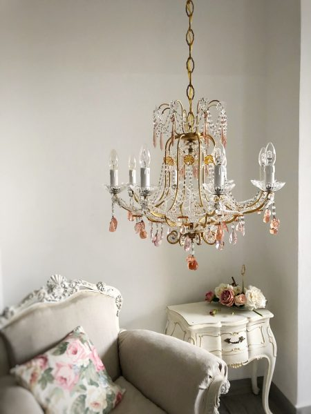 Venetian vintage 9 lights chandelier, glass fruits pendants