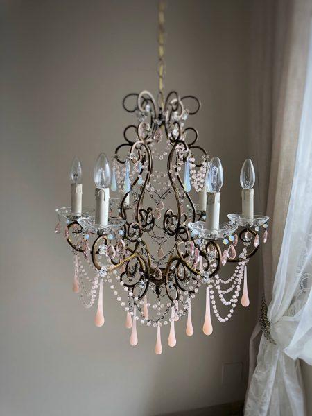 Pink Opaline Murano glass drops chandelier